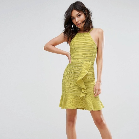 Asos Dresses Yellow Lime Party Dress Textured Ruffle Detail Poshmark